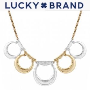 Lucky Brand Two Tone Hammered Metal Necklace
